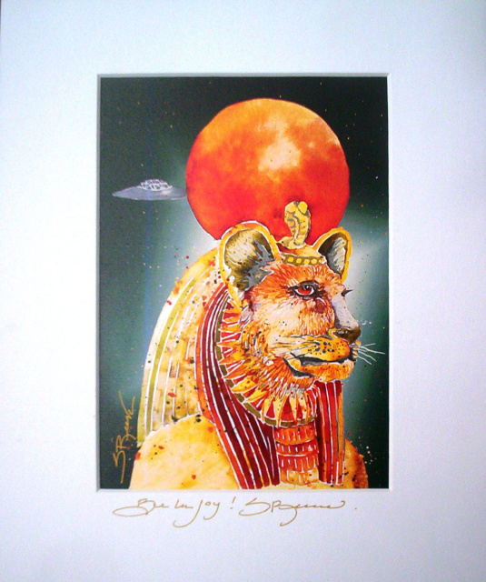 "Sekhmet Portrait Matted with Artist's Signature 8"" x 10"""